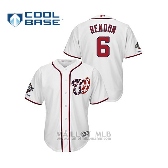 Maillot Baseball Homme Washington Nationals Anthony Rendon 2019 World Series Champions Cool Base Alterno Blanc