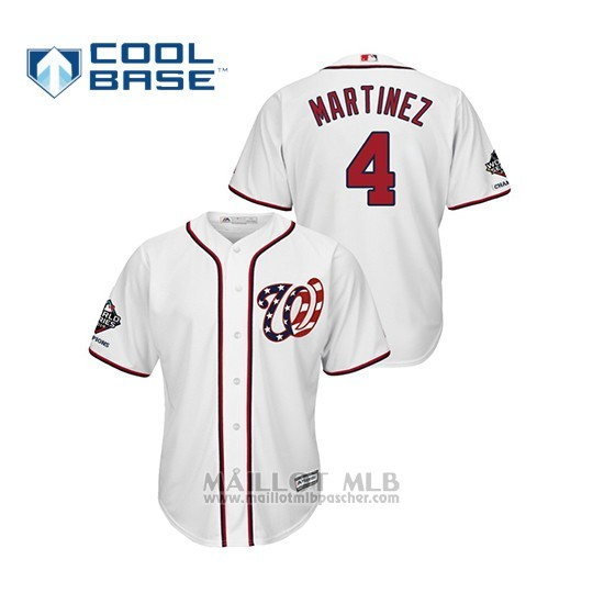 Maillot Baseball Homme Washington Nationals Dave Martinez 2019 World Series Champions Cool Base Alterno Blanc