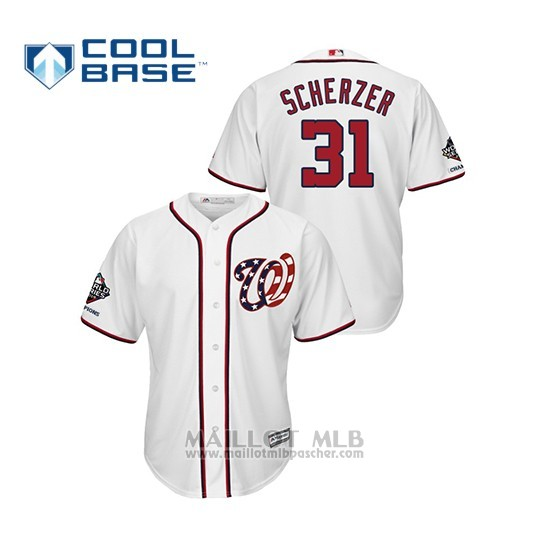 Maillot Baseball Homme Washington Nationals Max Scherzer 2019 World Series Champions Cool Base Alterno Blanc