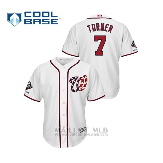 Maillot Baseball Homme Washington Nationals Trea Turner 2019 World Series Champions Cool Base Alterno Blanc