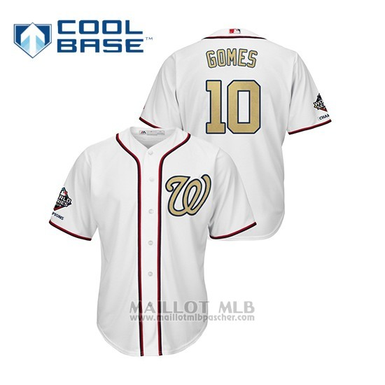 Maillot Baseball Homme Washington Nationals 10 Yan Gomes 2019 Gold Program Cool Base Blanc
