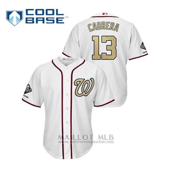 Maillot Baseball Homme Washington Nationals 13 Asdrubal Cabrera 2019 Gold Program Cool Base Blanc