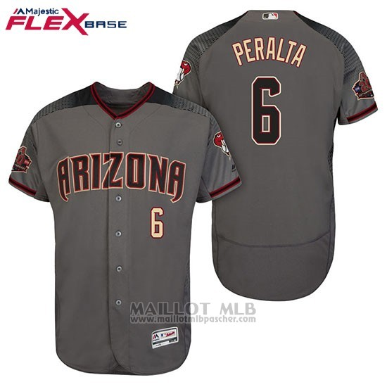 Maillot Baseball Homme Arizona Diamondbacks 6 David Peralta 6 David Peralta Gris Noir 20 Anniversaire Flex Base