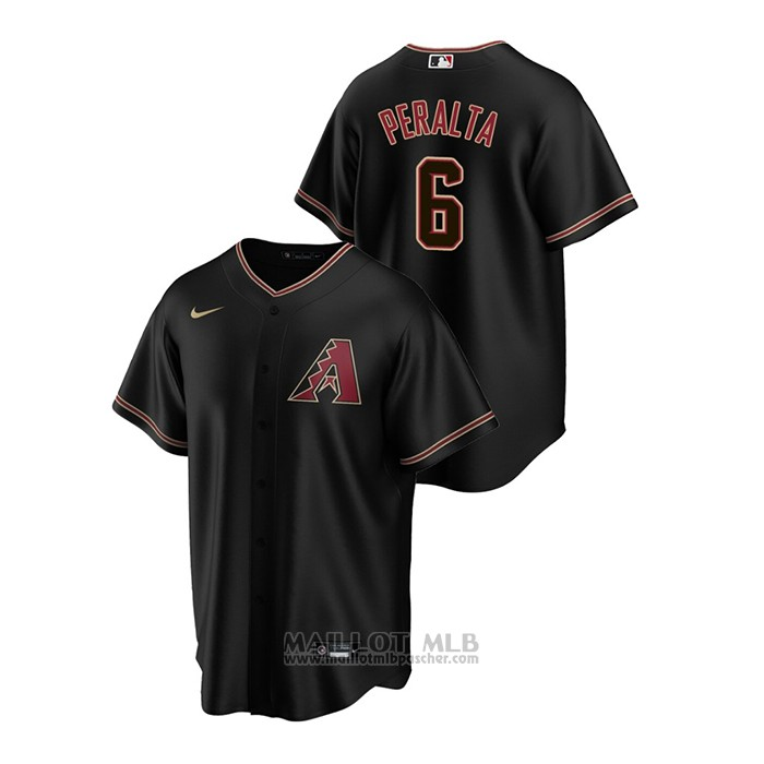 Maillot Baseball Homme Arizona Diamondbacks David Peralta Replique Alterner Noir