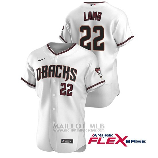 Maillot Baseball Homme Arizona Diamondbacks Jake Lamb Authentique 2020 Domicile Blanc Rouge