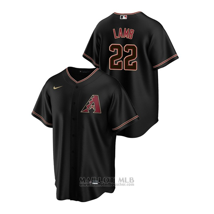 Maillot Baseball Homme Arizona Diamondbacks Jake Lamb Replique Alterner Noir