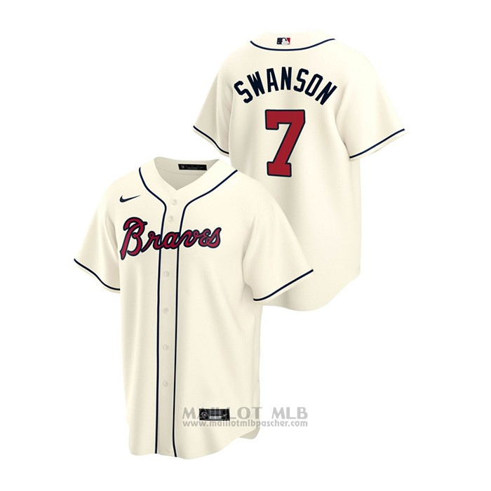 Maillot Baseball Homme Atlanta Braves Dansby Swanson 2020 Replique Alterner Creme
