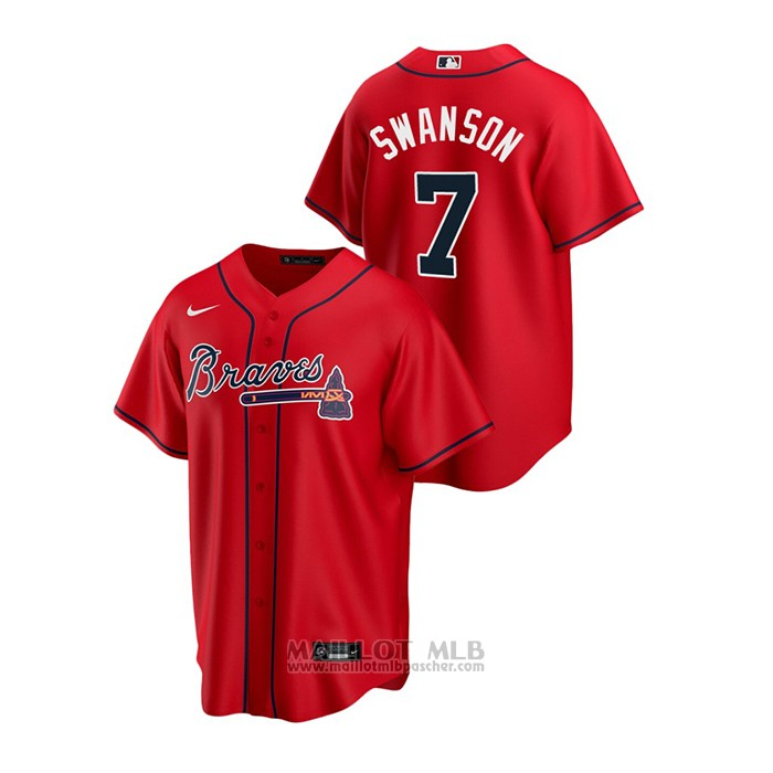Maillot Baseball Homme Atlanta Braves Dansby Swanson 2020 Replique Alterner Rouge