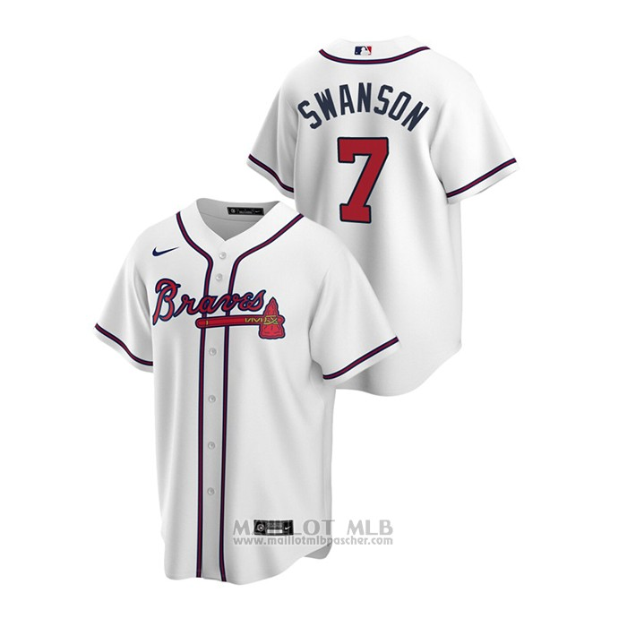 Maillot Baseball Homme Atlanta Braves Dansby Swanson 2020 Replique Primera Blanc