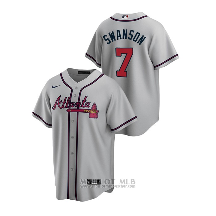Maillot Baseball Homme Atlanta Braves Dansby Swanson 2020 Replique Road Gris