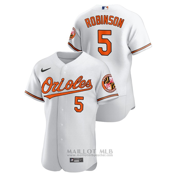 Maillot Baseball Homme Baltimore Orioles Brooks Robinson Authentique Blanc