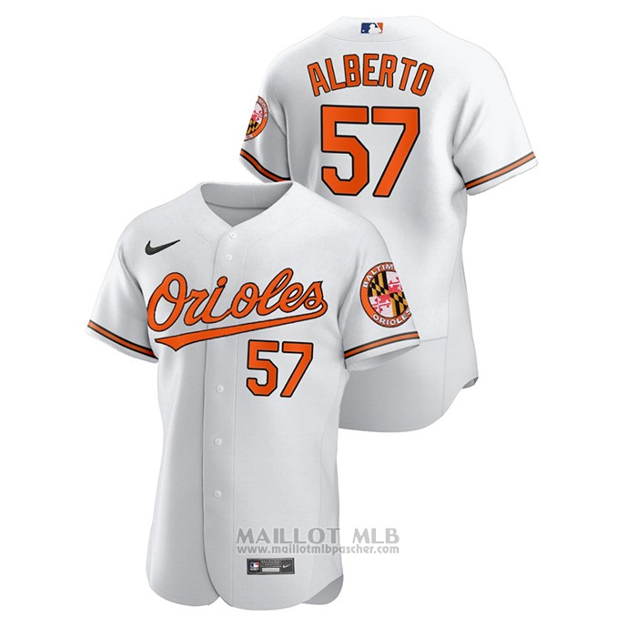 Maillot Baseball Homme Baltimore Orioles Hanser Alberto Authentique Blanc