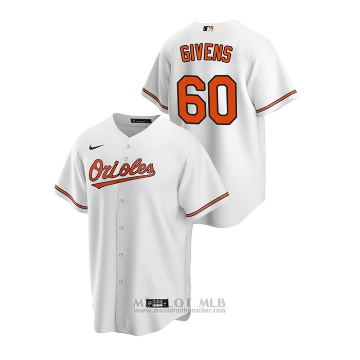 Maillot Baseball Homme Baltimore Orioles Mychal Givens 2020 Replique Primera Blanc