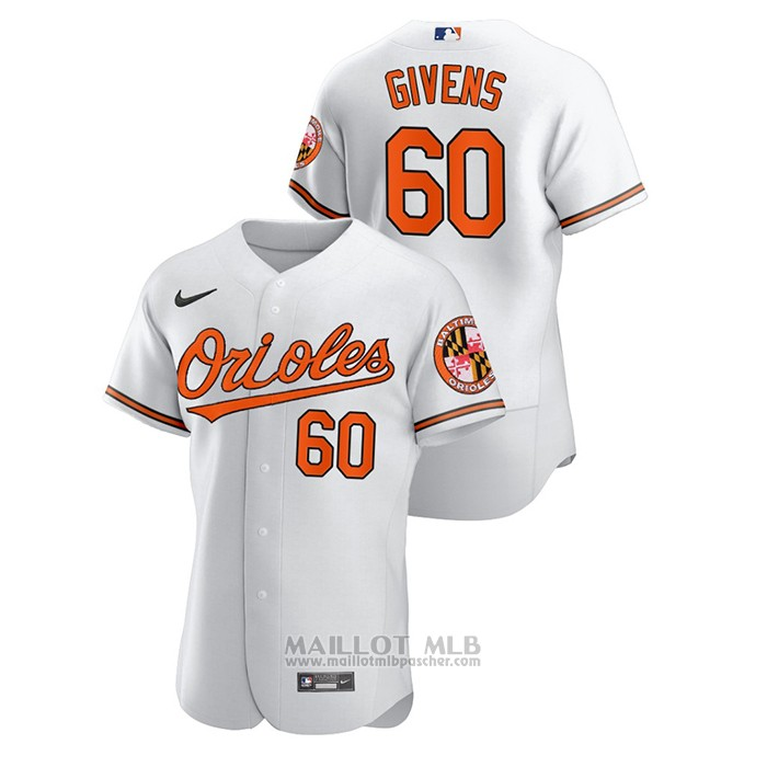 Maillot Baseball Homme Baltimore Orioles Mychal Givens Authentique Blanc