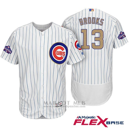 Maillot Baseball Homme Chicago Cubs 13 Aaron Brooks Blanc Oro Program Flex Base