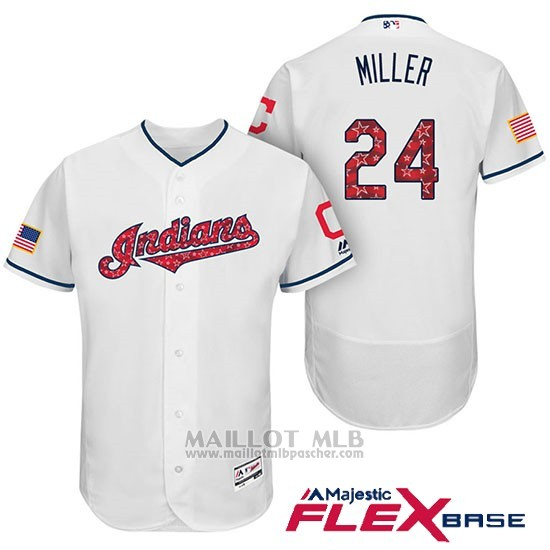 Maillot Baseball Homme Cleveland Indians 2017 Estrellas y Rayas Andrew Miller Blanc Flex Base