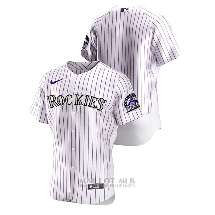 Maillot Baseball Homme Colorado Rockies Authentique Blanc