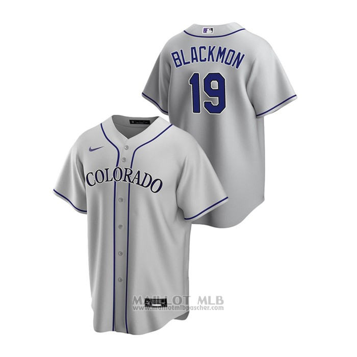 Maillot Baseball Homme Colorado Rockies Charlie Blackmon Replique Road Gris