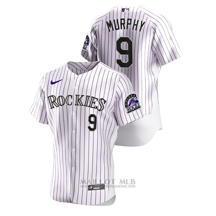 Maillot Baseball Homme Colorado Rockies Daniel Murphy Authentique Blanc