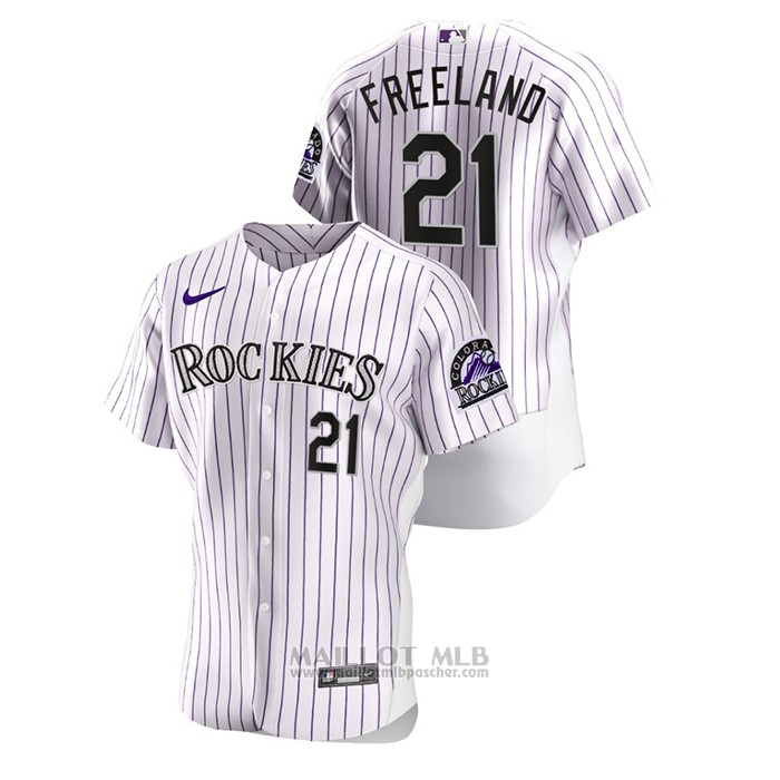 Maillot Baseball Homme Colorado Rockies Kyle Freeland Authentique Blanc
