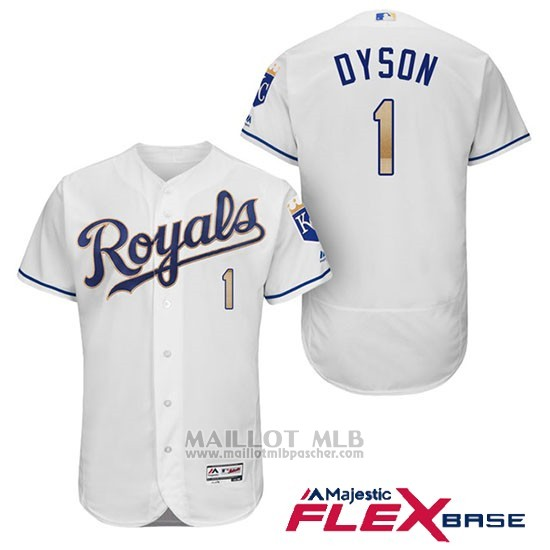 Maillot Baseball Homme Kansas City Royals 1 Jarrod Dyson Blanc 2017 Flex Base
