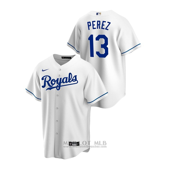 Maillot Baseball Homme Kansas City Royals Salvador Perez Replique Primera Blanc