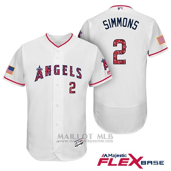Maillot Baseball Homme Los Angeles Angels 2017 Estrellas y Rayas Andrelton Simmons Blanc Flex Base