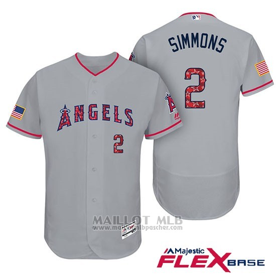 Maillot Baseball Homme Los Angeles Angels 2017 Estrellas y Rayas Andrelton Simmons Gris Flex Base