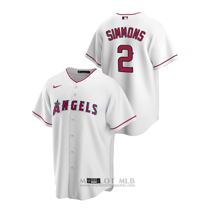 Maillot Baseball Homme Los Angeles Angels Andrelton Simmons Replique Primera Blanc