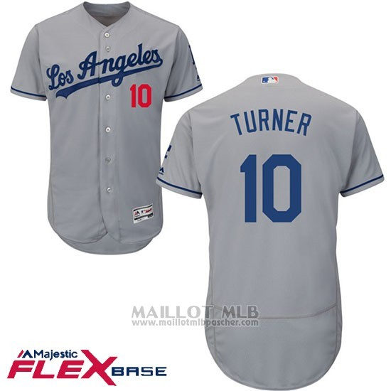 Maillot Baseball Homme Los Angeles Dodgers 10 Justin Turner Gris 2017 Flex Base