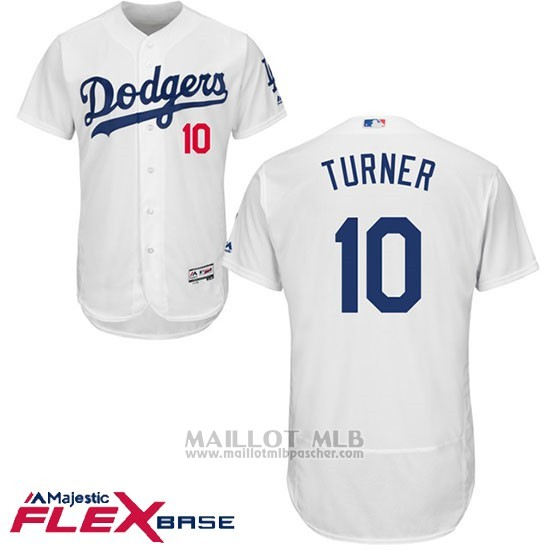 Maillot Baseball Homme Los Angeles Dodgers 11 Justin Turner Blanc 2017 Flex Base