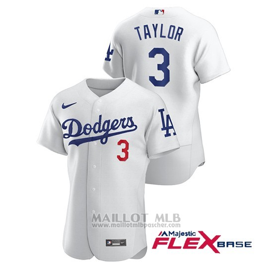 Maillot Baseball Homme Los Angeles Dodgers Chris Taylor Authentique Nike Blanc