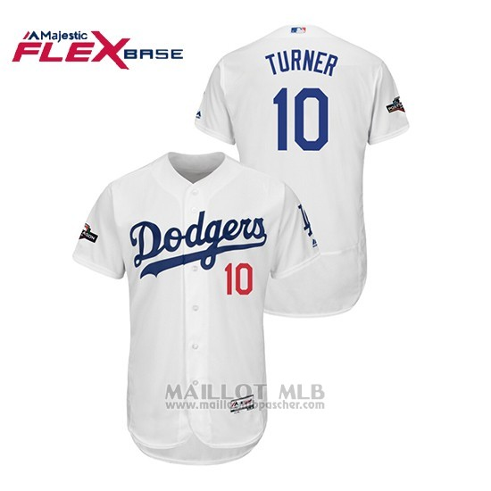 Maillot Baseball Homme Los Angeles Dodgers 10 Justin Turner 2019 Postseason Flex Base Blanc