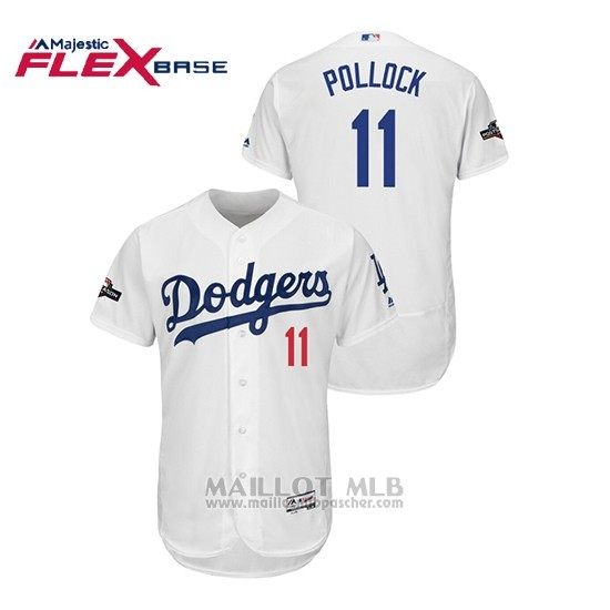 Maillot Baseball Homme Los Angeles Dodgers 11 A.j. Pollock 2019 Postseason Flex Base Blanc