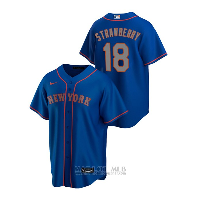 Maillot Baseball Homme New York Mets Darryl Strawberry Replique Alterner Road Bleu