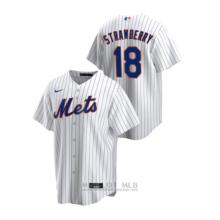 Maillot Baseball Homme New York Mets Darryl Strawberry Replique Primera Blanc