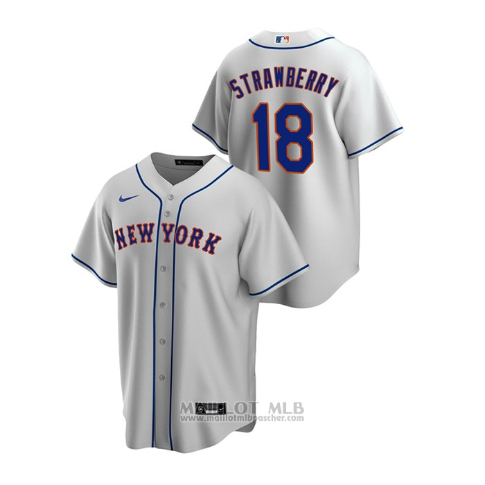 Maillot Baseball Homme New York Mets Darryl Strawberry Replique Road Gris
