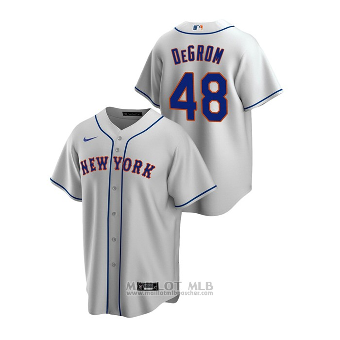 Maillot Baseball Homme New York Mets Jacob Degrom Replique Road Gris