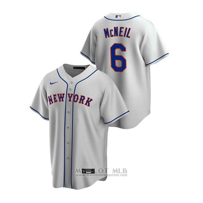 Maillot Baseball Homme New York Mets Jeff Mcneil Replique Road Gris