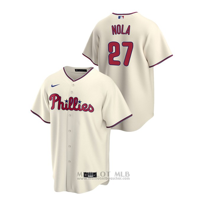 Maillot Baseball Homme Philadelphia Phillies Aaron Nola Replique Alterner Creme