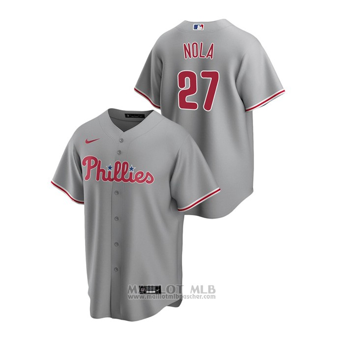 Maillot Baseball Homme Philadelphia Phillies Aaron Nola Replique Road Gris