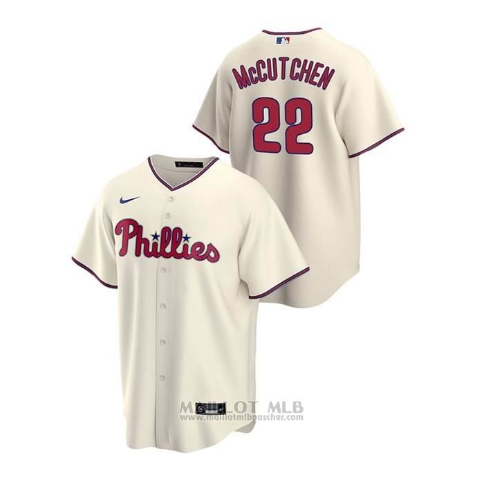 Maillot Baseball Homme Philadelphia Phillies Andrew Mccutchen Replique Alterner Creme