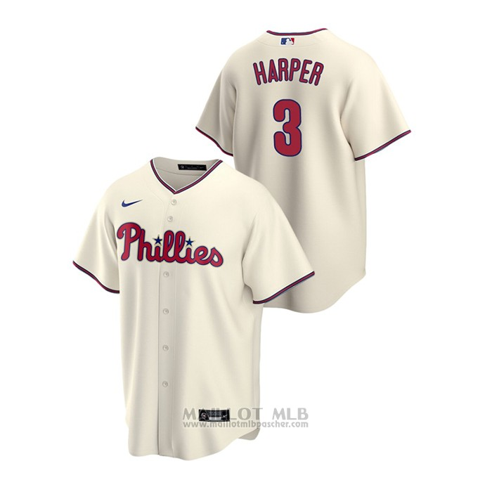 Maillot Baseball Homme Philadelphia Phillies Bryce Harper Replique Alterner Creme
