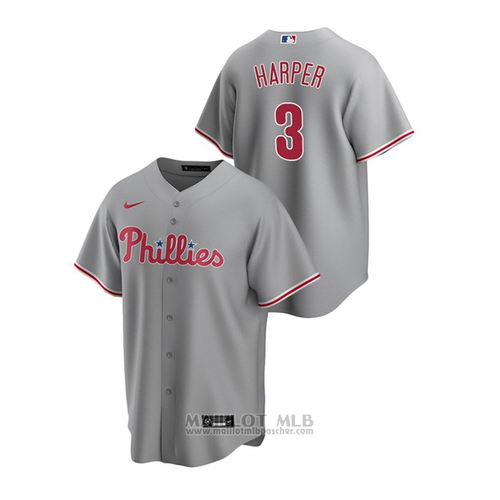 Maillot Baseball Homme Philadelphia Phillies Bryce Harper Replique Road Gris