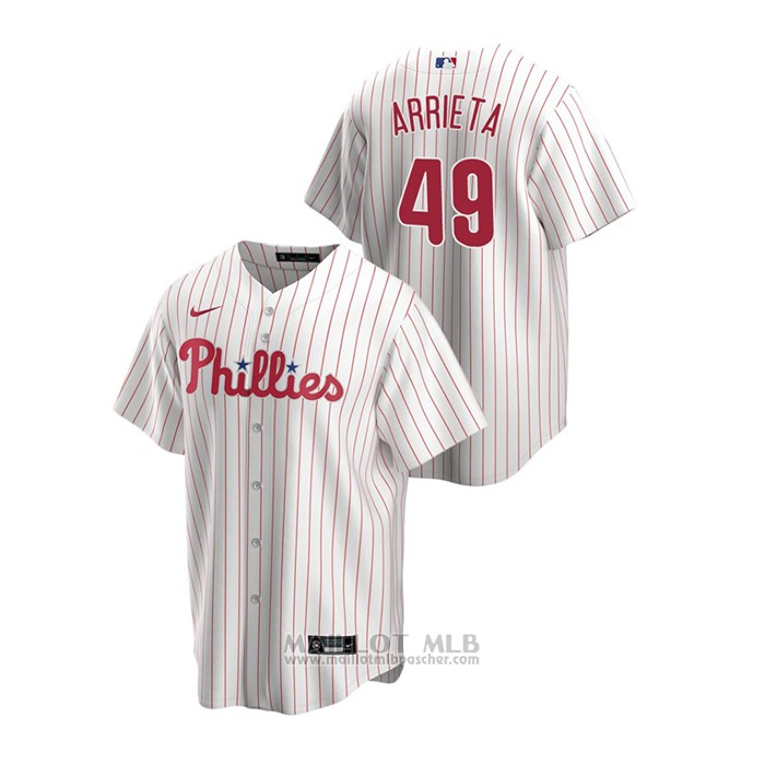 Maillot Baseball Homme Philadelphia Phillies Jake Arrieta Replique Primera Blanc