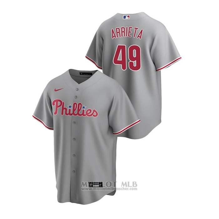 Maillot Baseball Homme Philadelphia Phillies Jake Arrieta Replique Road Gris