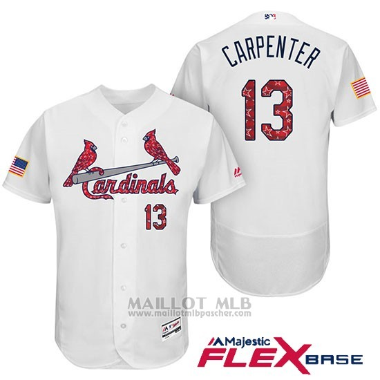 Maillot Baseball Homme St. Louis Cardinals 2017 Estrellas y Rayas Matt Carpenter Blanc Flex Base