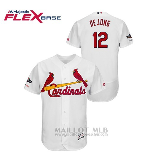 Maillot Baseball Homme St. Louis Cardinals 12 Paul Dejong 2019 Postseason Flex Base Blanc