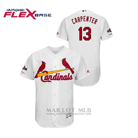Maillot Baseball Homme St. Louis Cardinals 13 Matt Carpenter 2019 Postseason Flex Base Blanc