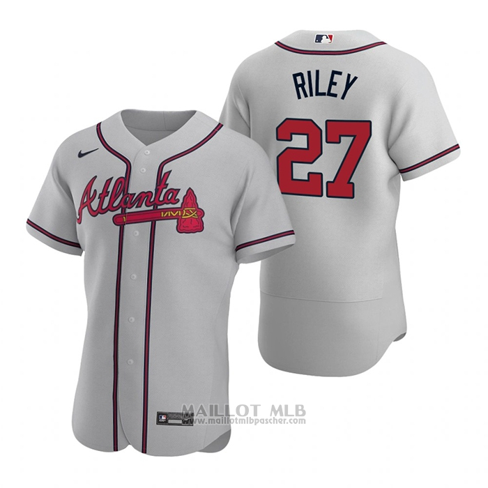 Maillot Baseball Homme Atlanta Braves Austin Riley Authentique 2020 Road Gris